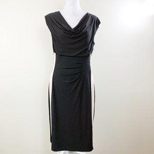 Connected Apparel Drape Front Faux Wrap Dress 12